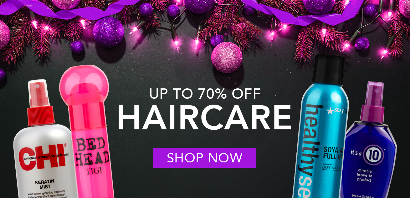Up to 70% off haircare, shop now