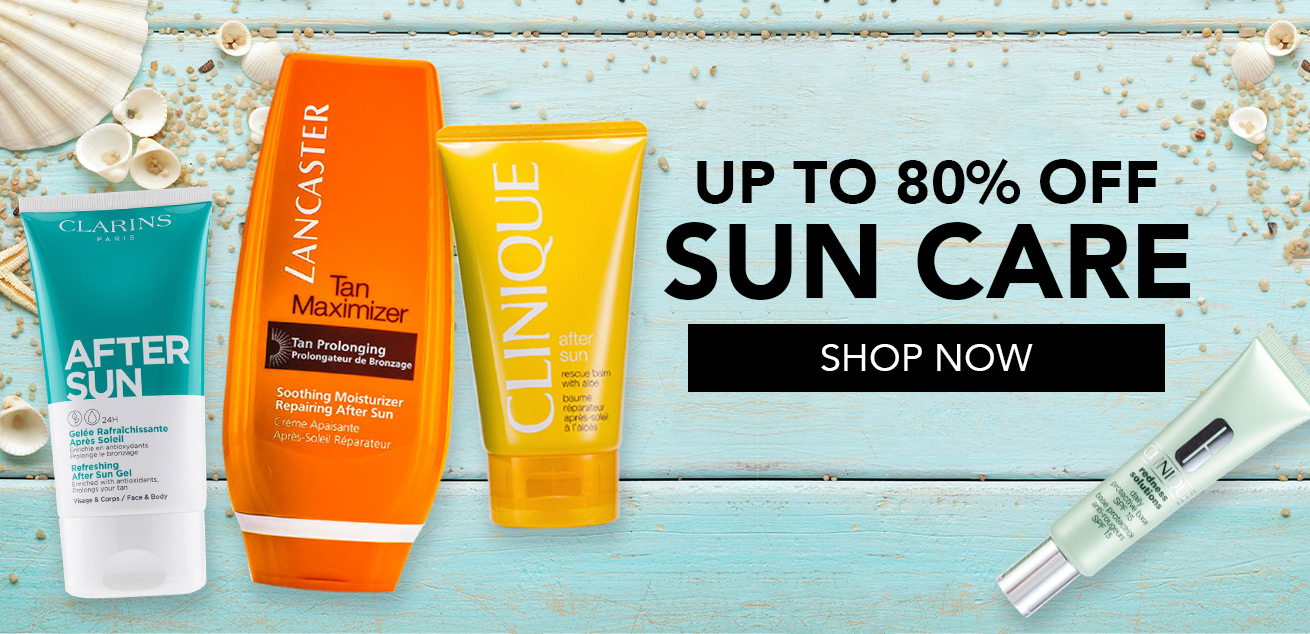 up to 80% off sun care, shop now