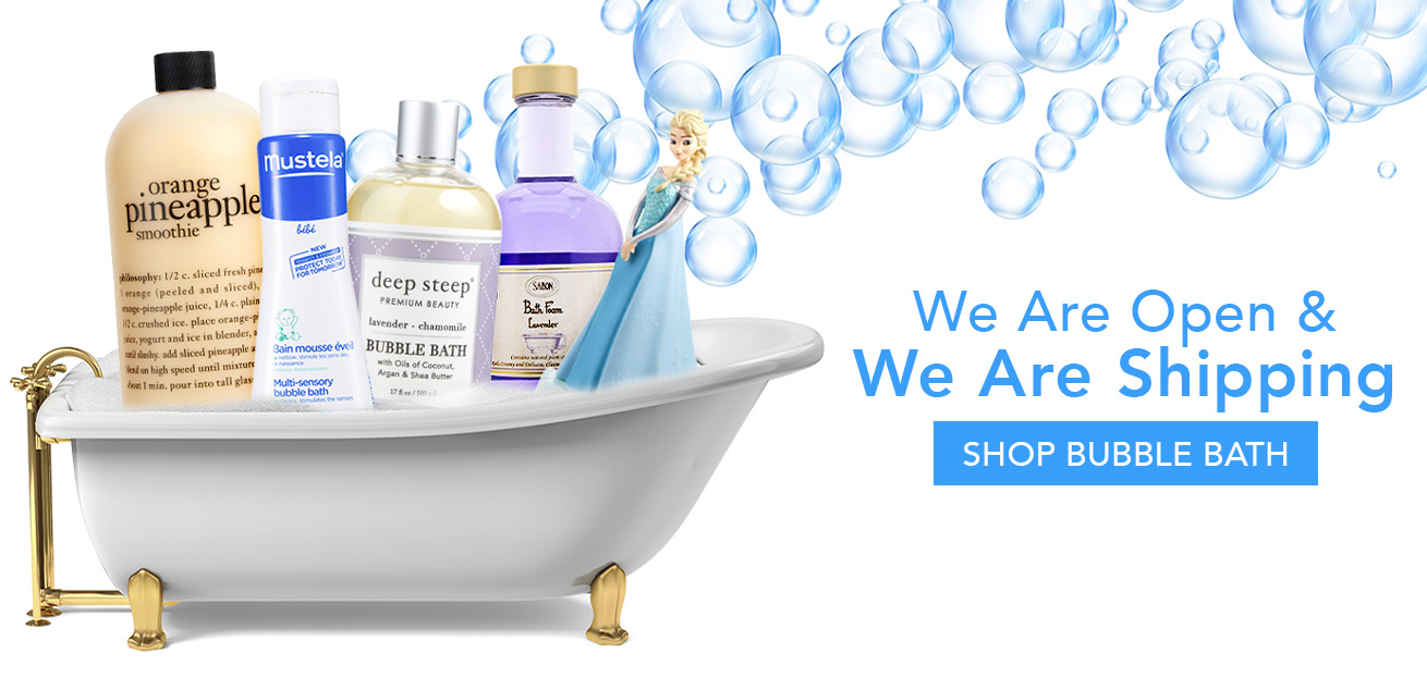 We are open and we are shipping, shop bubble bath