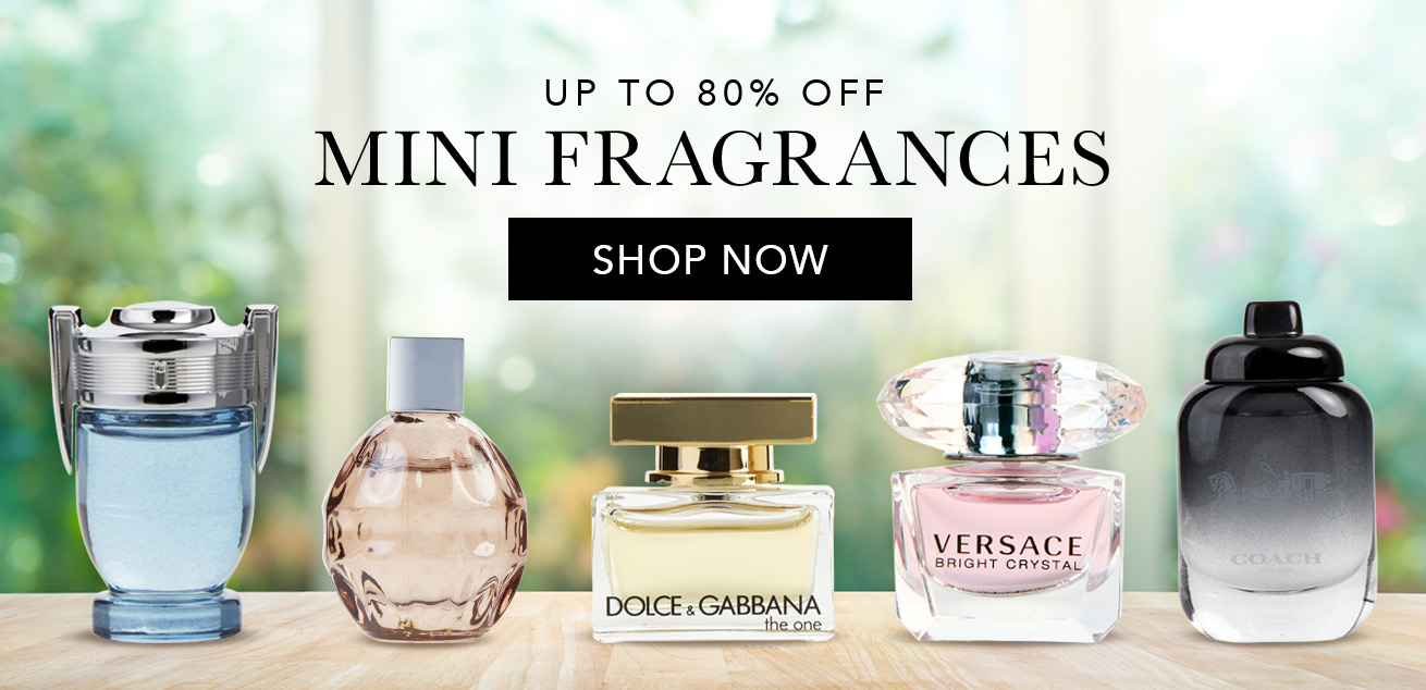 up to 80% off mini fragrances, shop now