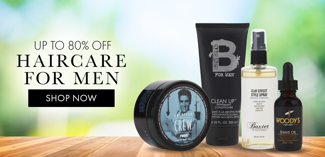 up to 80% off haircare for men, shop now